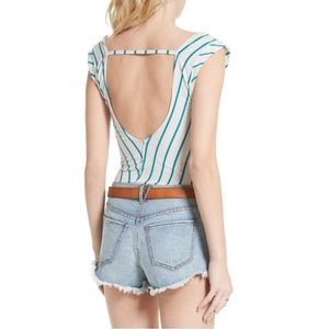 New FREE PEOPLE Backless Stripe Tank Top Pink M